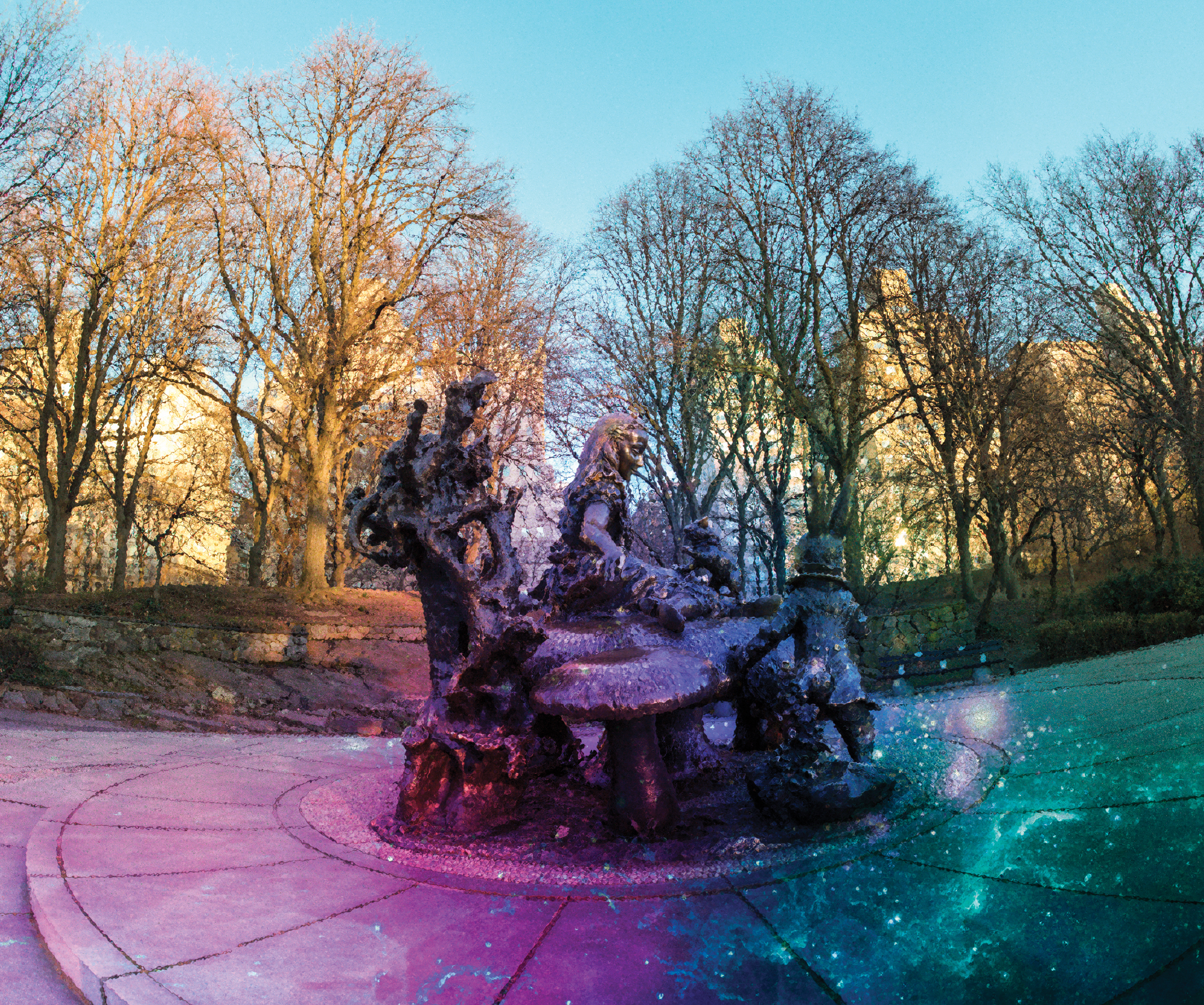 Colorful and whimsical photograph of the Alice in Wonderland statue in Central Park, NY during the fall.