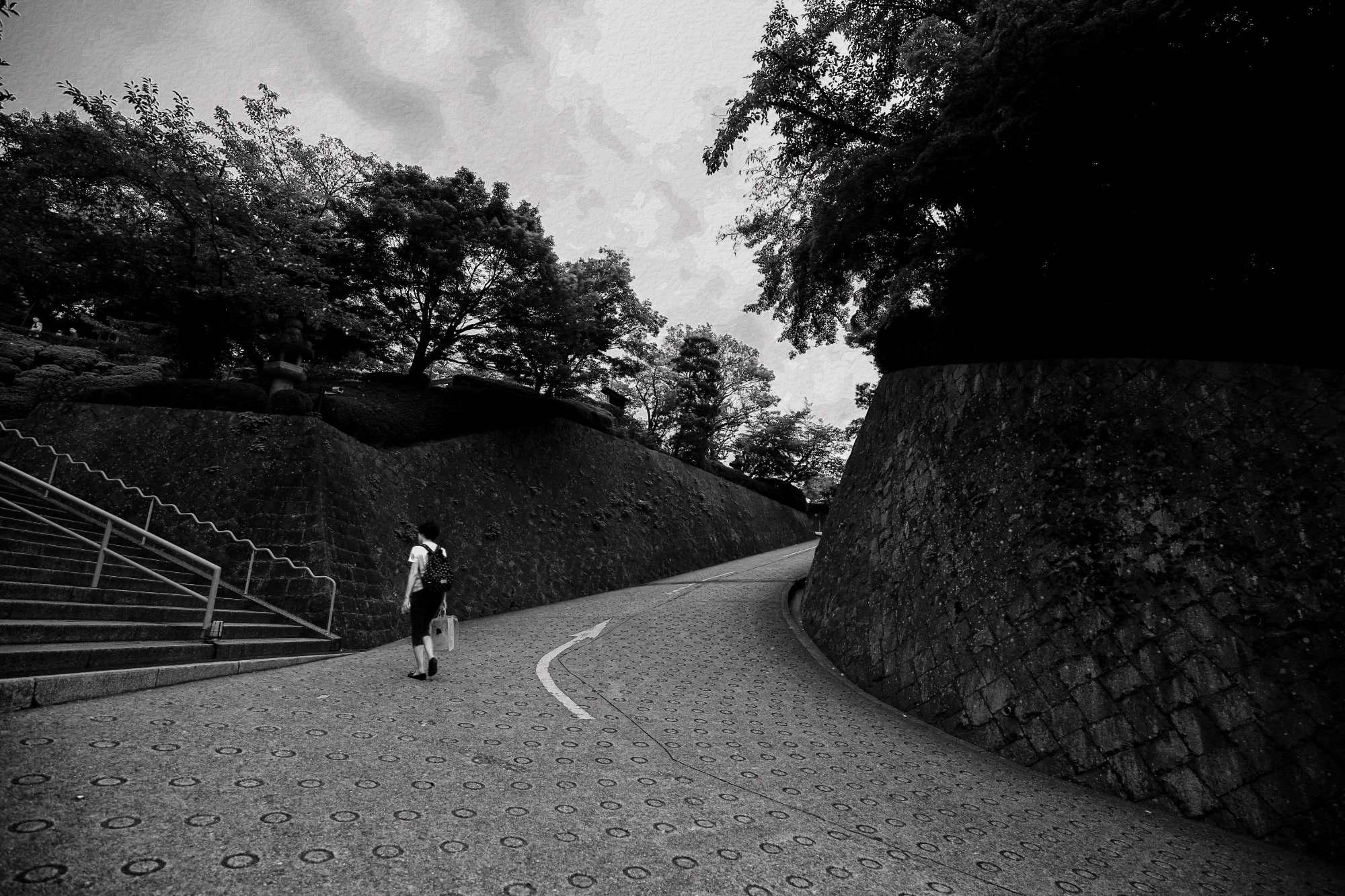 Black and white photograph taken in Japan. Lots of leading lines with a person not knowing which way to go.