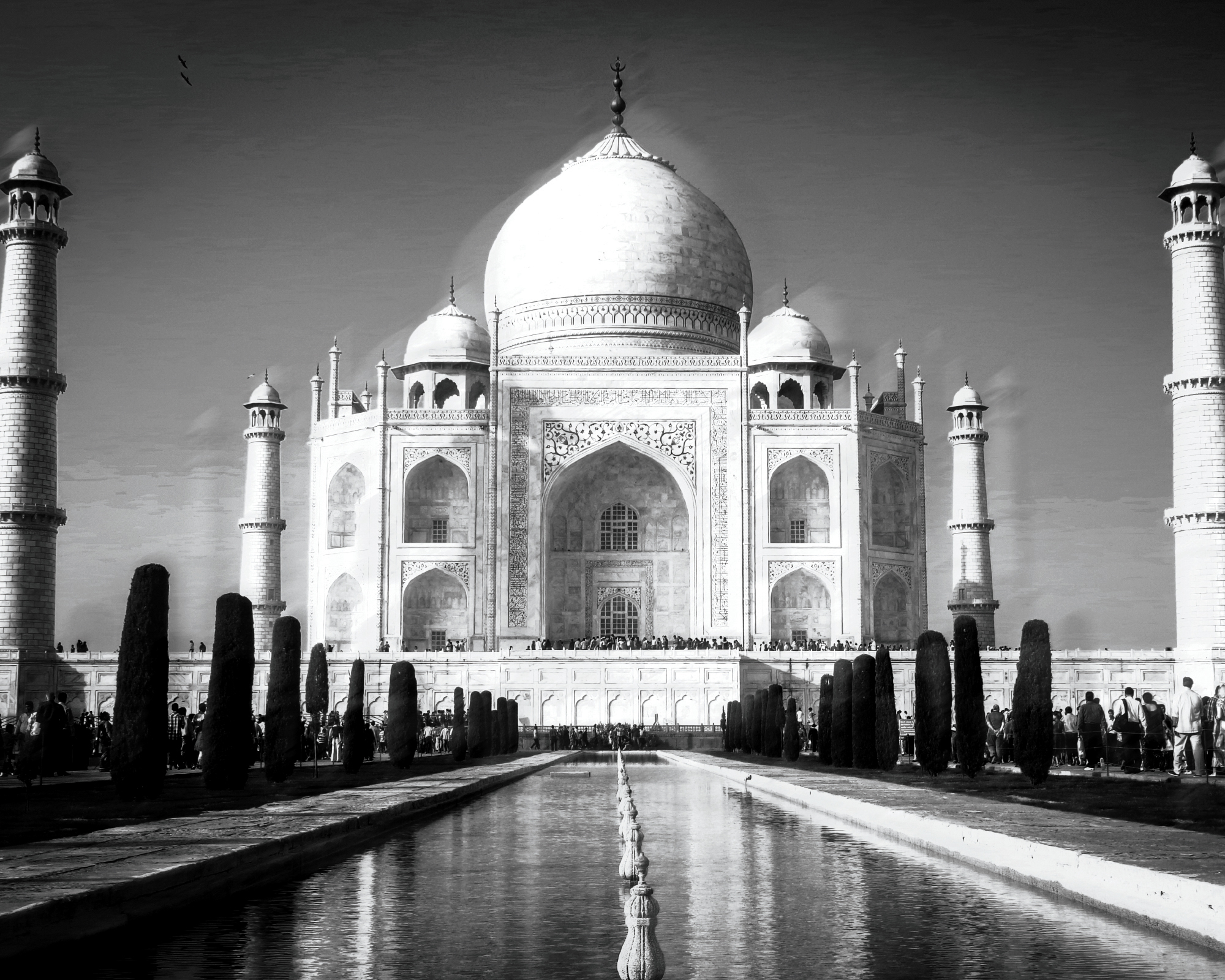 Black and white, abstract photograph of the Taj Mahal in Agra, India.