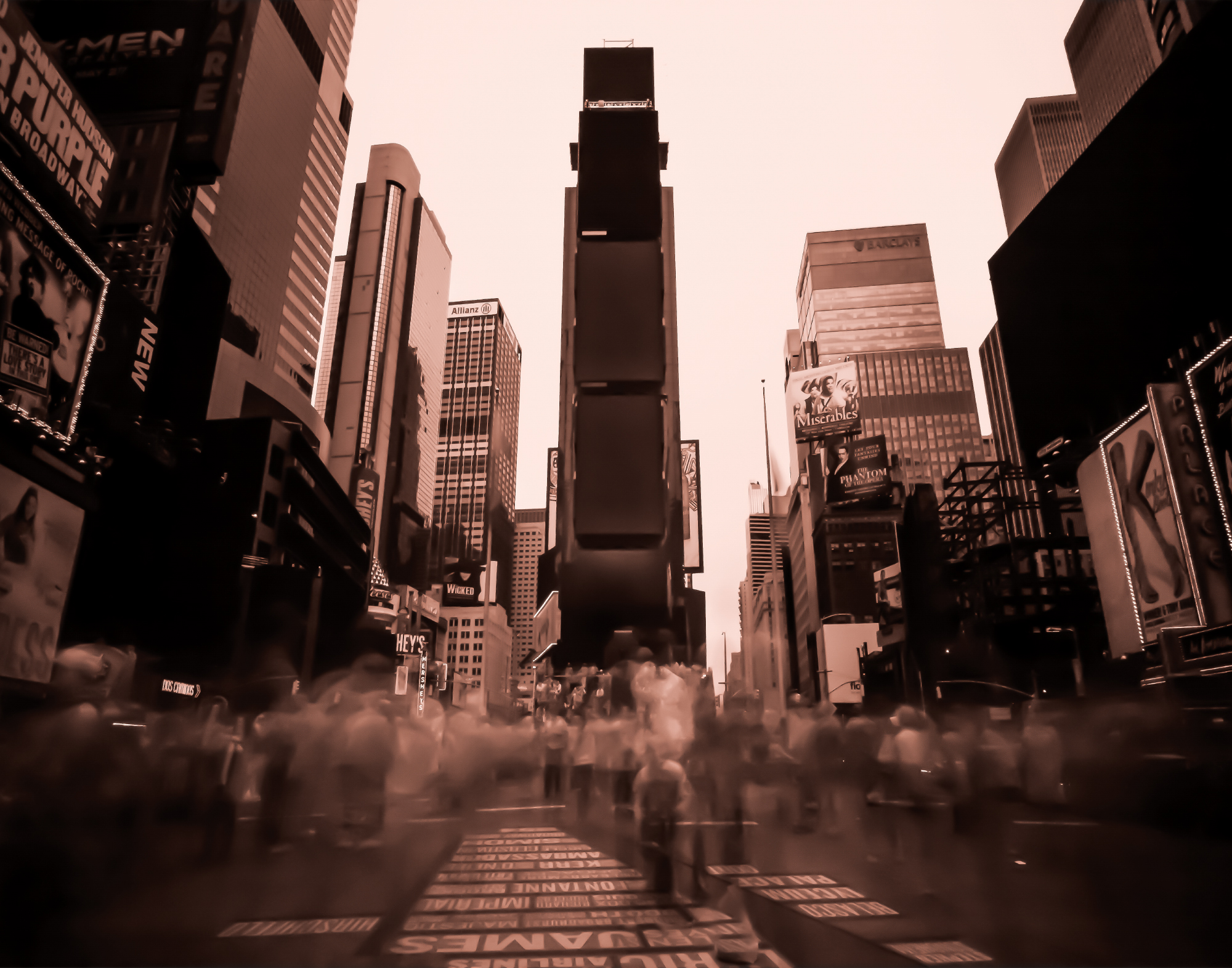 Long exposure, infra-red photograph of the famous Times Square taken in New York City, New York.